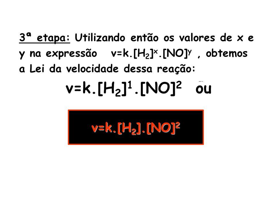 v=k.[H2]1.[NO]2 ou v=k.[H2].[NO]2